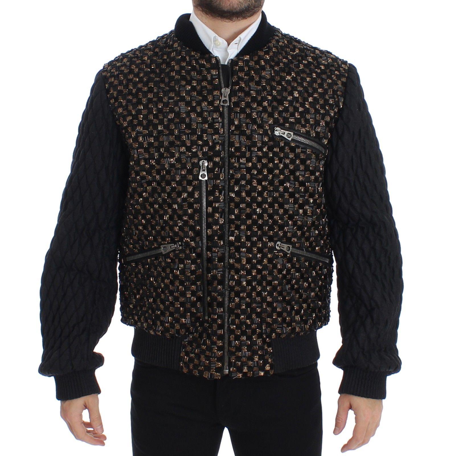 Dolce & Gabbana Men's Sequined Goatskin Jacket Black SIG12189 - IT48 | M