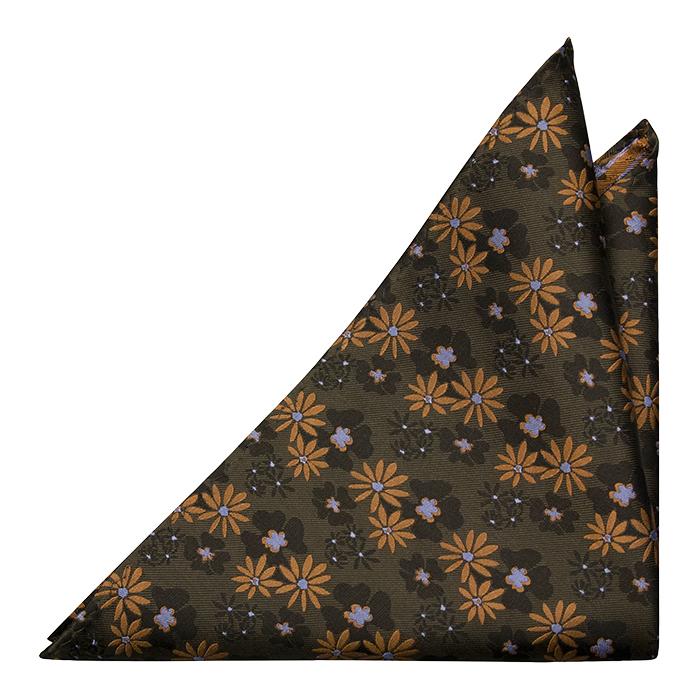 Silke Lommetørkler, Grønn med gull og grå blomster, Grønn, Blomstrete