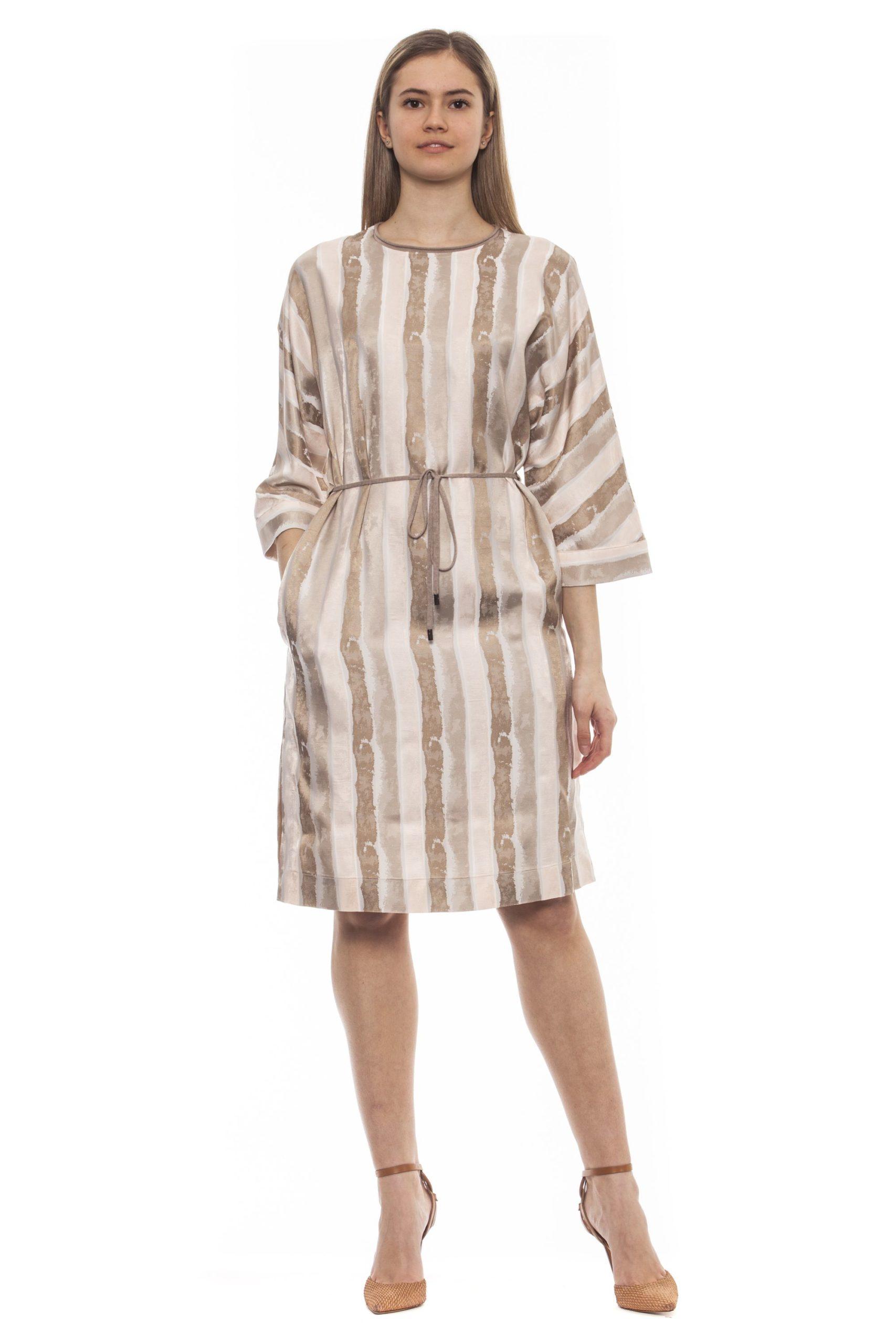 Peserico Women's Bianco Dress Beige PE1383228 - IT42 | S