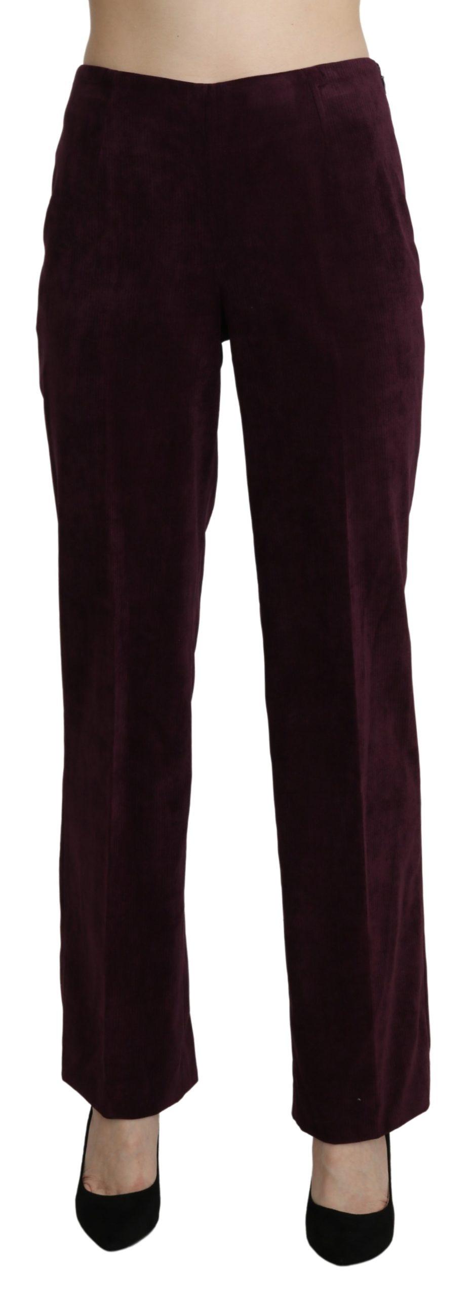 BENCIVENGA Women's Suede High Waist Straight Trousers Purple PAN71365-48 - IT48|XXL