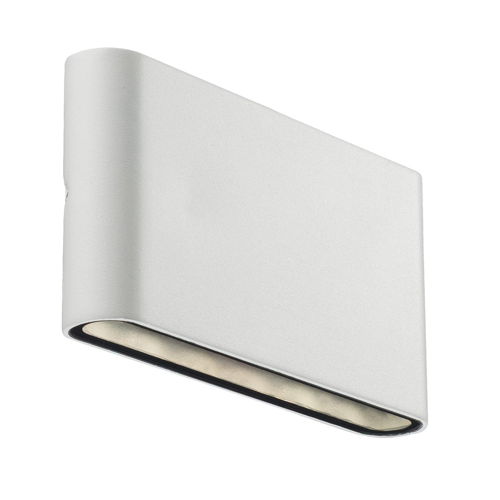 Utendørs LED-vegglampe Kinver i flat form, hvit