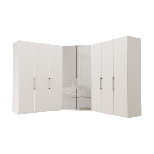 Garderobe Atlanta - Hvit 150 + walk-in + 150, 236 cm, Hvit