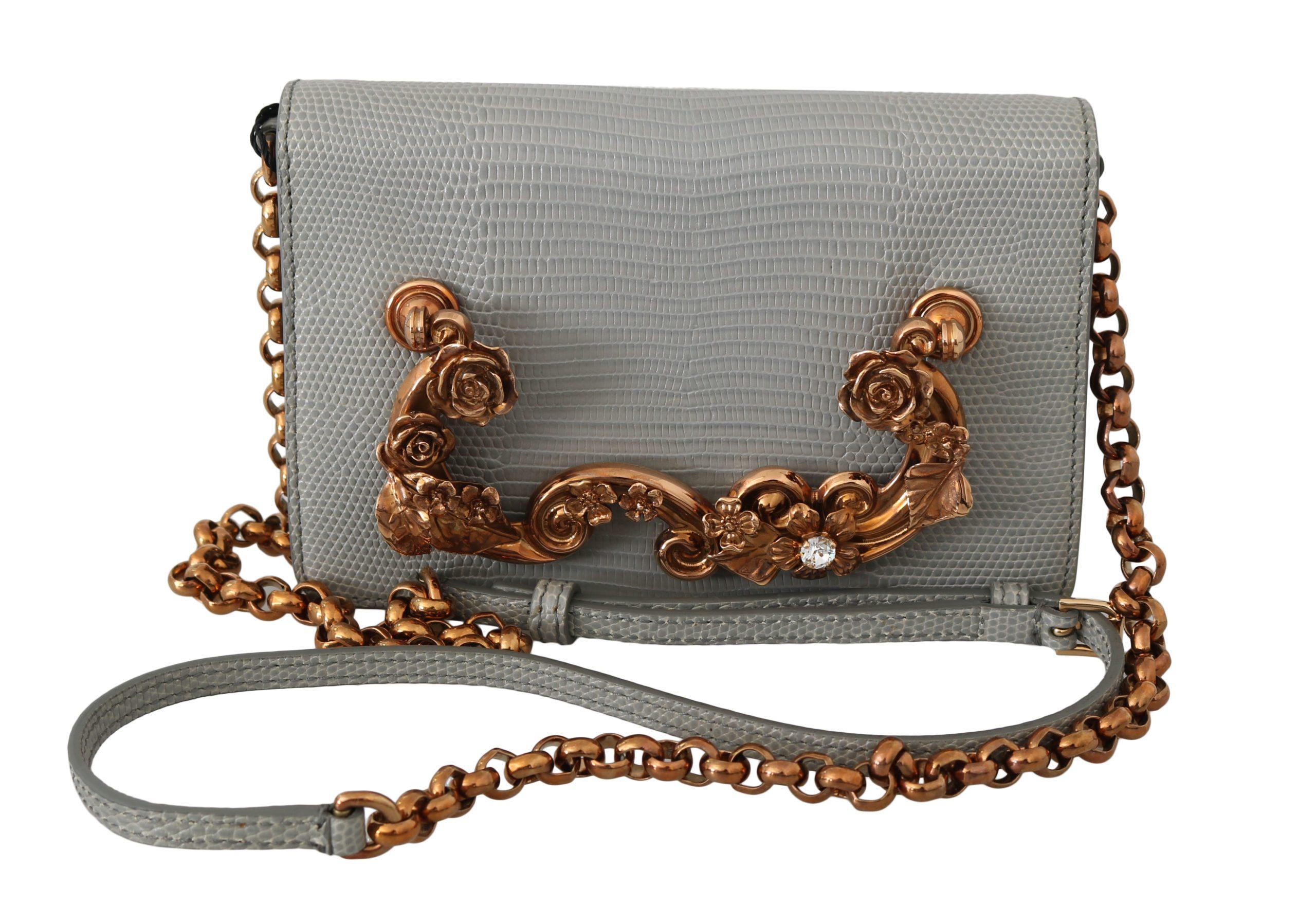 Dolce & Gabbana Women's Lizard Skin Crystal Leather Crossbody Bag Gray VAS8684