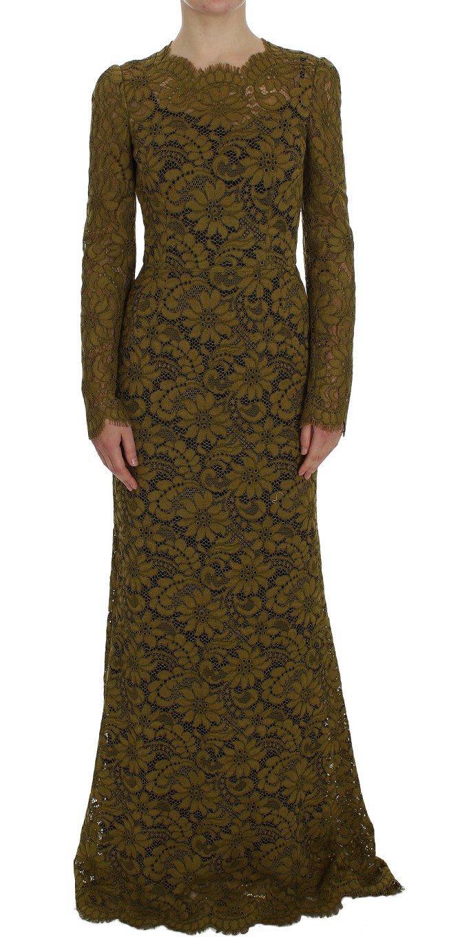 Dolce & Gabbana Women's Floral Lace Ricamo Dress Green NOC10088 - IT40|S