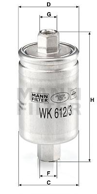 Polttoainesuodatin MANN-FILTER WK 612/3