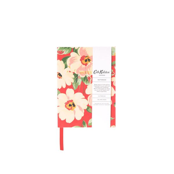 Autumn Red Floral Clothbound Notebook A6