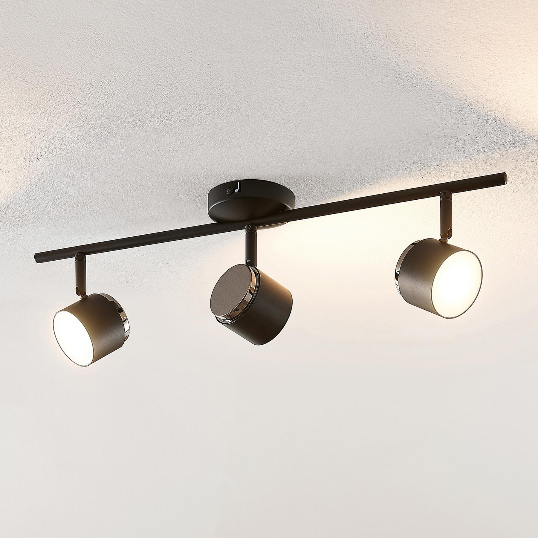 Lindby Marrie -LED-kohdevalaisin, musta, 3-lamp.