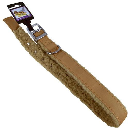 Halsband pälsfodrade brun/beige 25mm x 65cm
