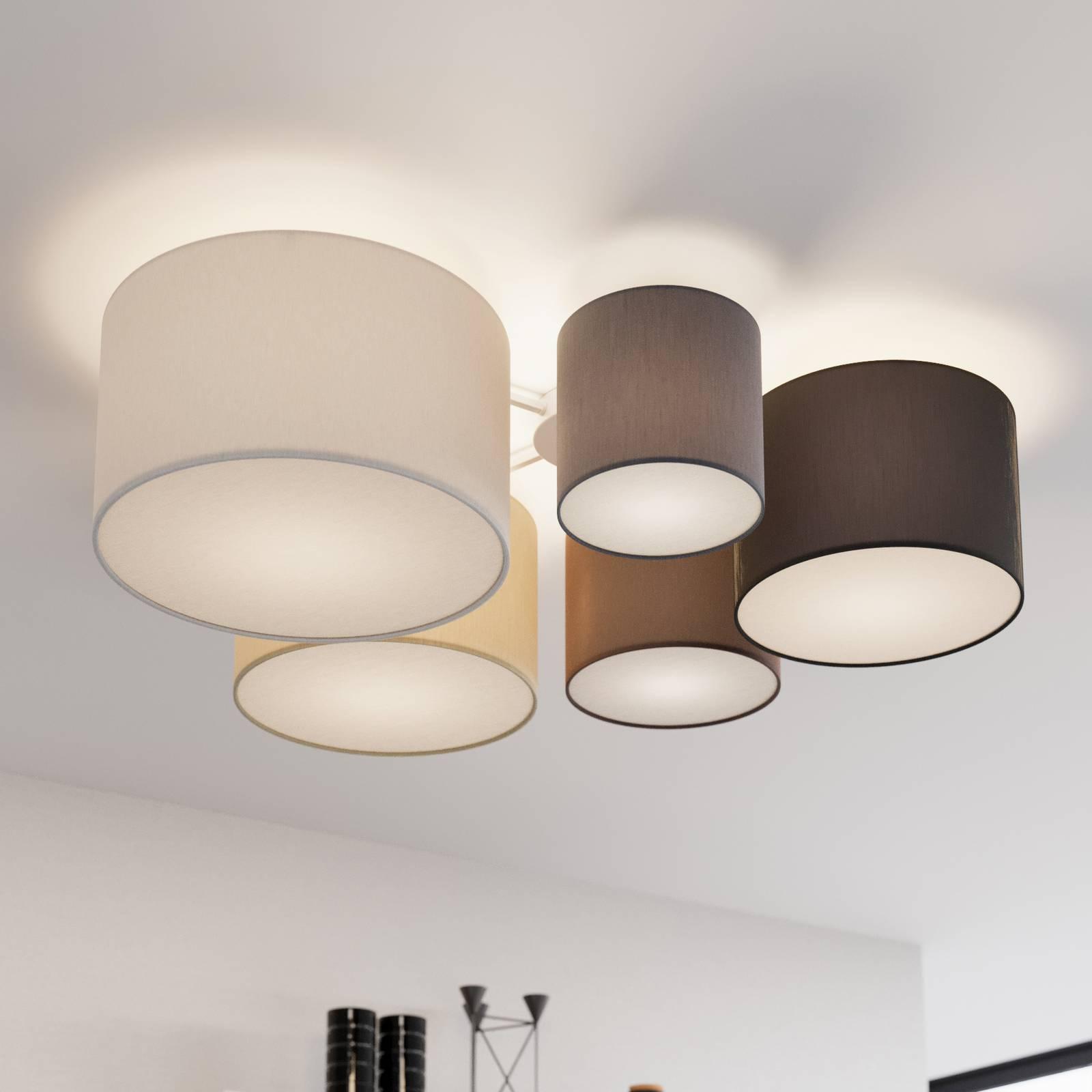 Lindby Laurenz -kattovalaisin 5-lamp. ruskea-beige