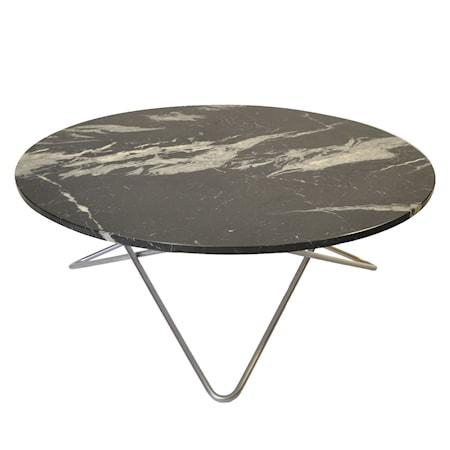 Large O Table Svart Marmor med Rostfri Stålram Ø100