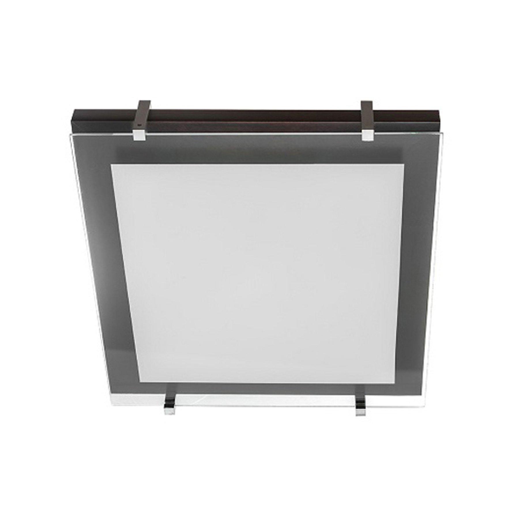 Taklampe P1 av tre og glass 40x40cm