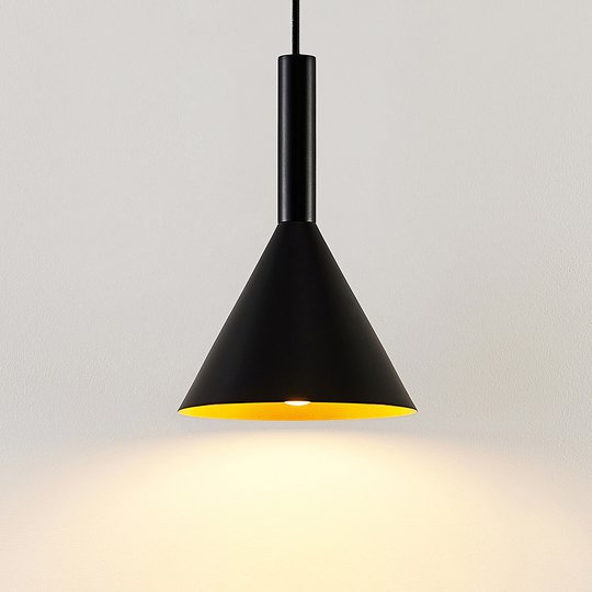 Arcchio Tadej -riippuvalo 1-lamp. 19cm musta-kulta