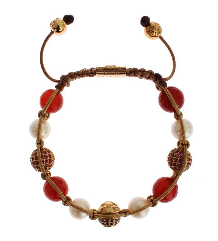 Nialaya Women's CZ Carnelian Pearl 925 Bracelet Red SIG19016 - S