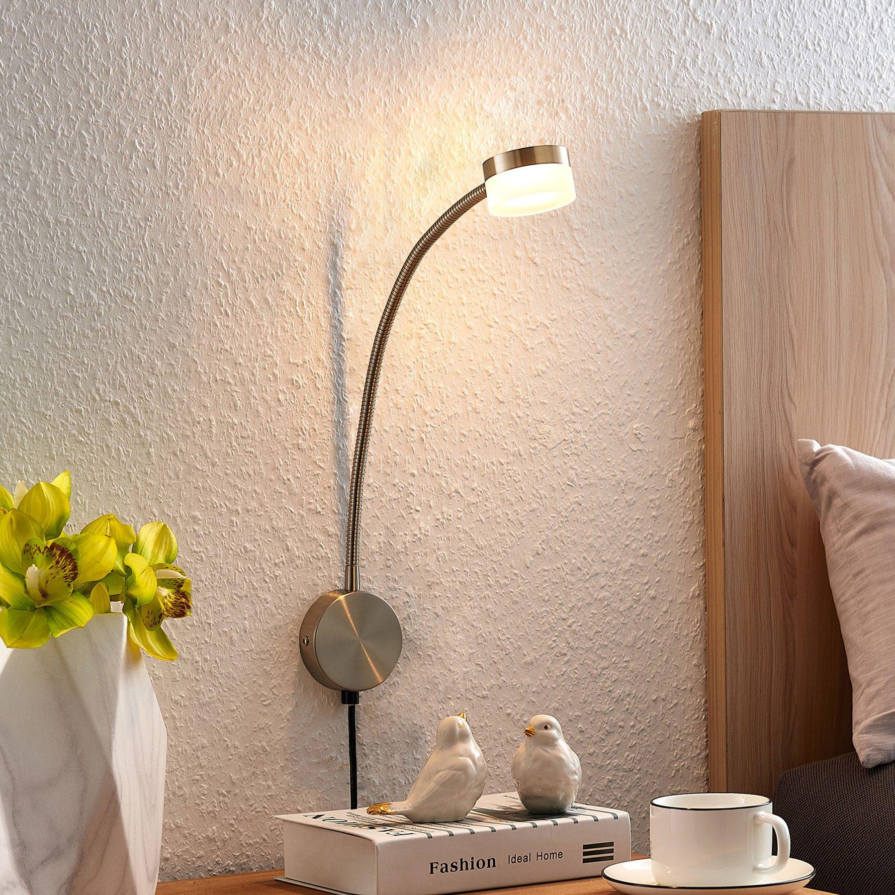 Lindby Gentjana LED-vegglampe, satinert nikkel