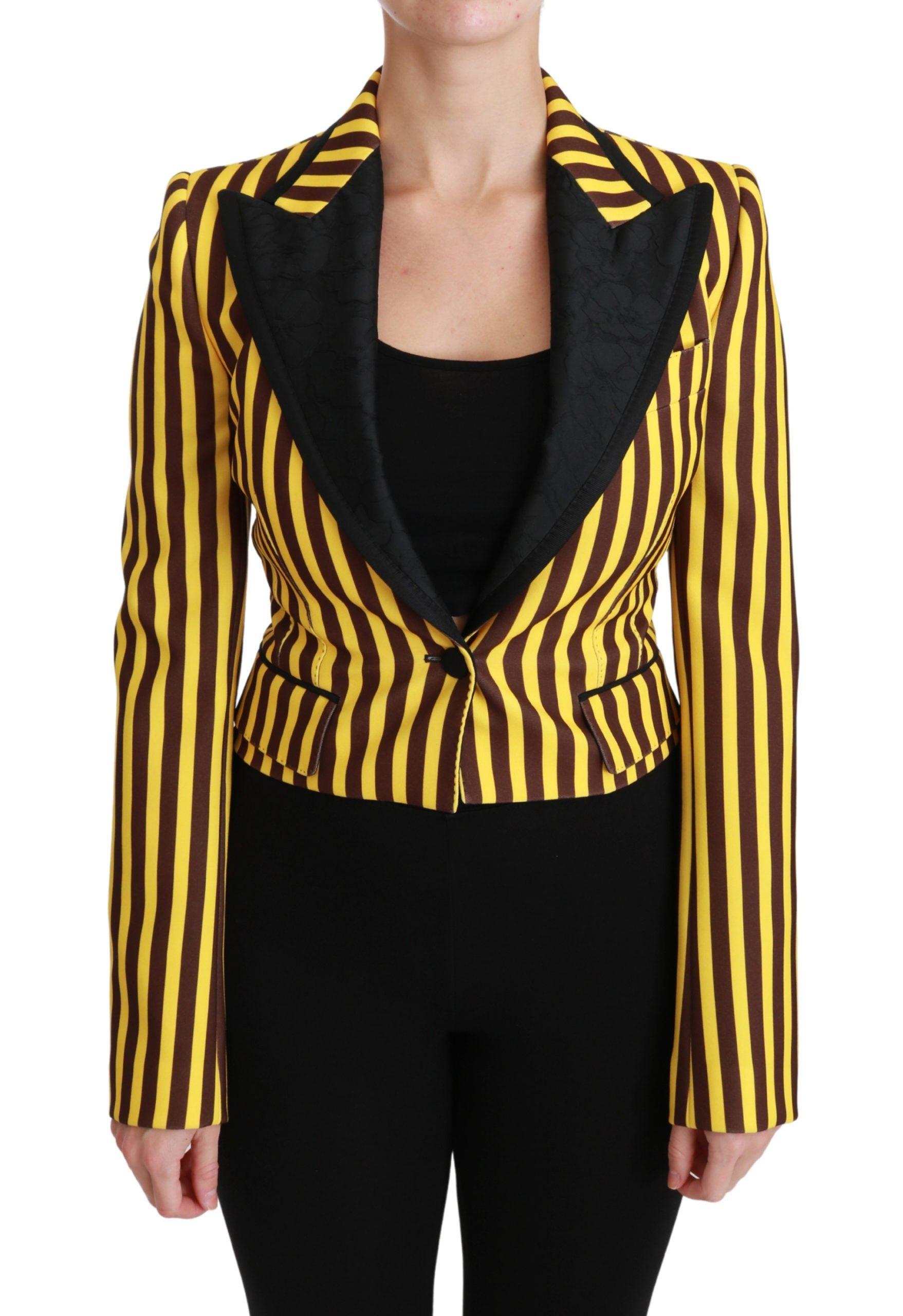 Dolce & Gabbana Women's Striped Jacket Blazer Yellow JKT2560 - IT40 S