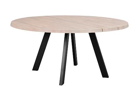 Fred matbord runt 160 vitpigmenterad ek/svart