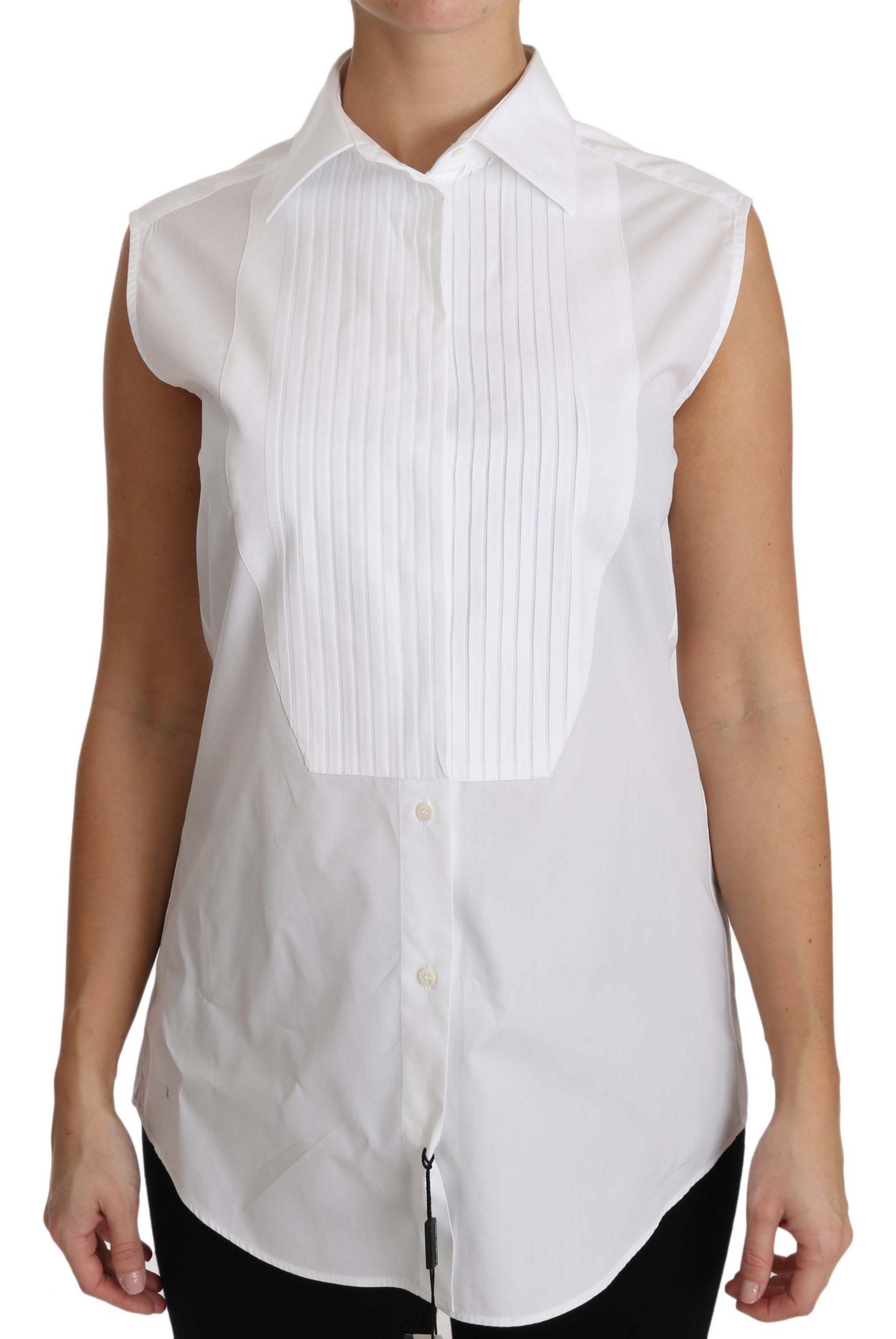 Dolce & Gabbana Women's Collar Sleeveless Tops White TSH2948 - IT42 M