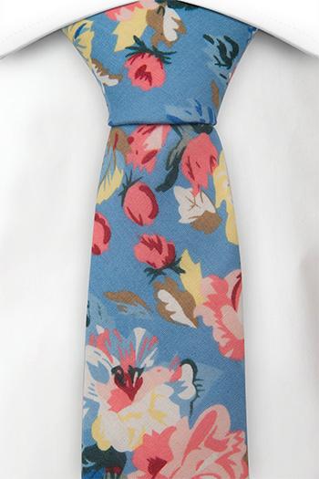 Bomull Guttelsips junior, Gule og rosa blomster på blå bakgrunn, Blå, Blomster