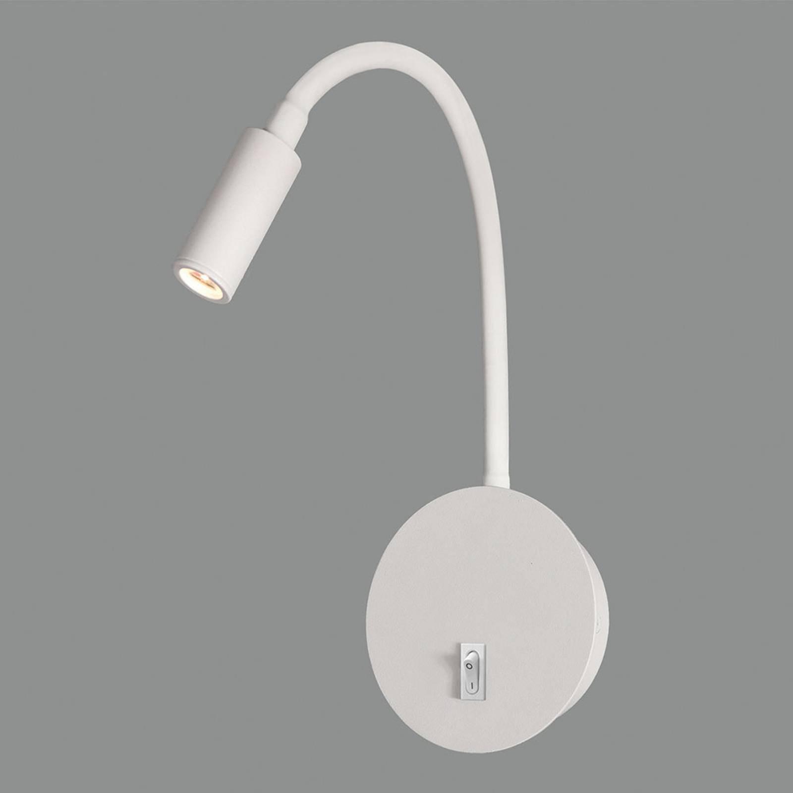LED-vegglampe Lyon med fleksibel arm, hvit