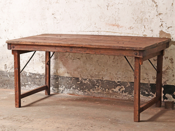 Vintage Long Wooden Table Large