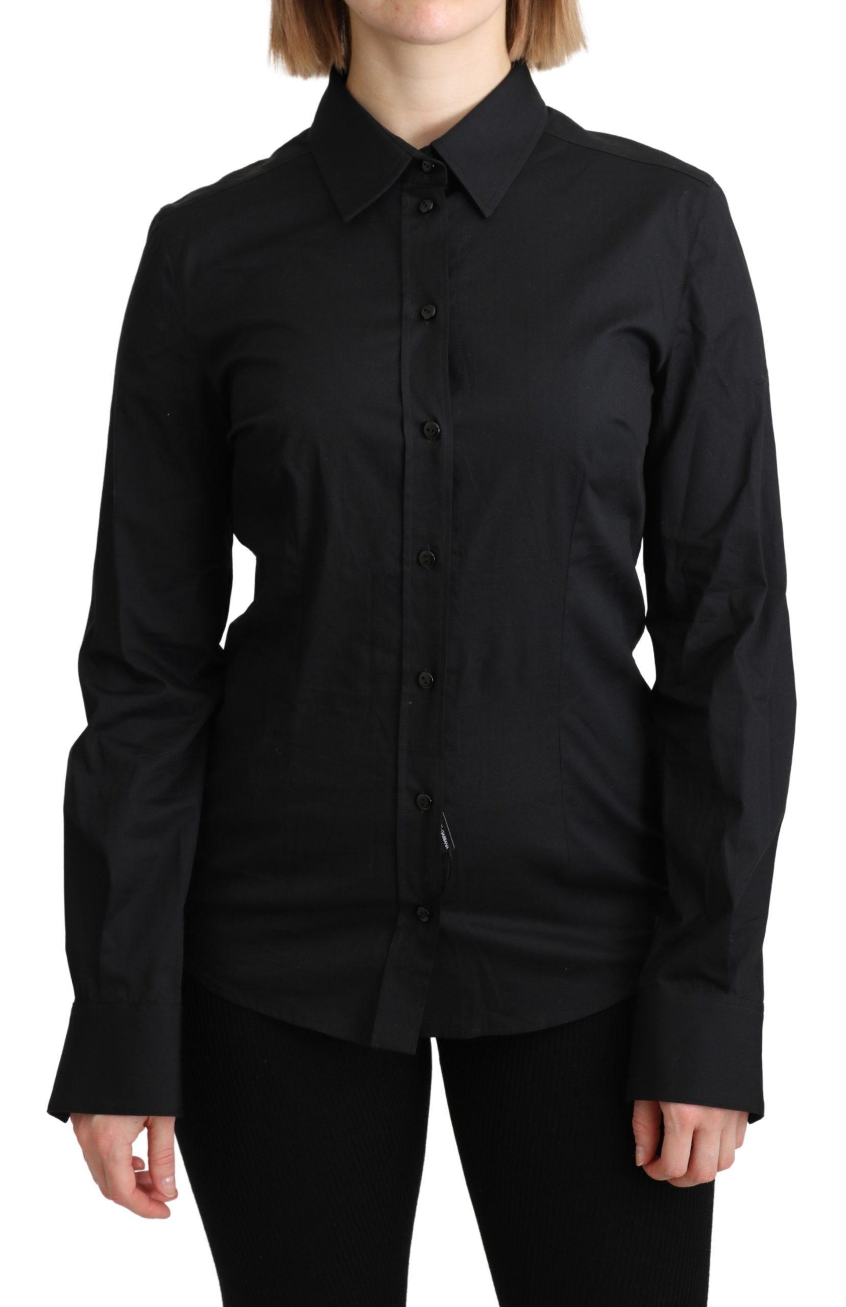 Dolce & Gabbana Women's Formal Dress Shirt Black TSH4901 - IT42|M