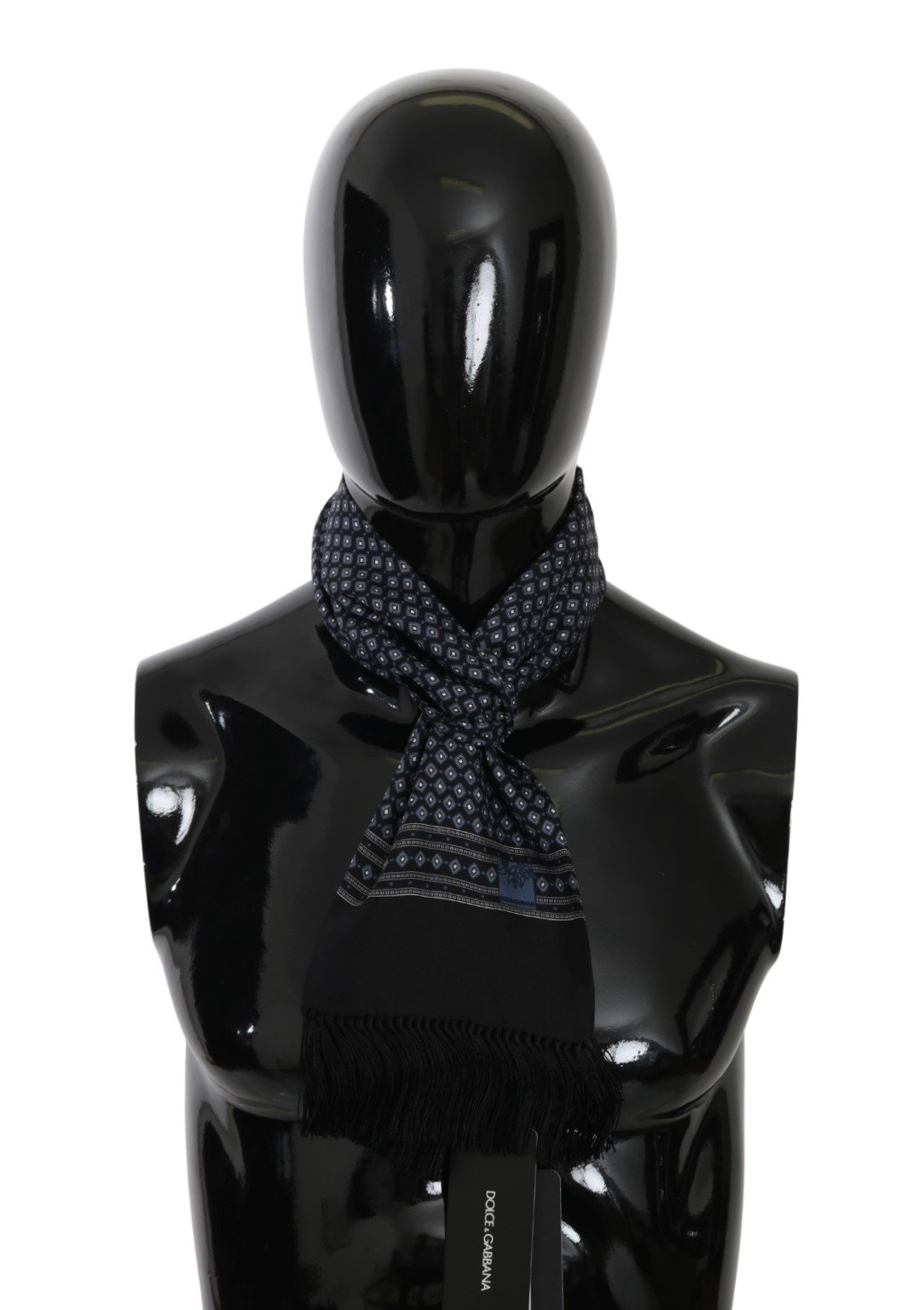 Dolce & Gabbana Men's Baroque Fringe Wrap Silk Scarf Blue MS5523