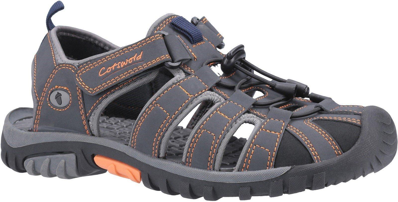 Cotswold Men's Sandhurst Touch Fastening Sandal Various Colours 30160 - Grey/Orange 7