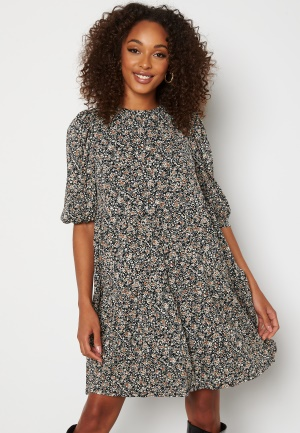 ONLY Pella 2/4 Peplum Dress Black Floral Ditsy XL