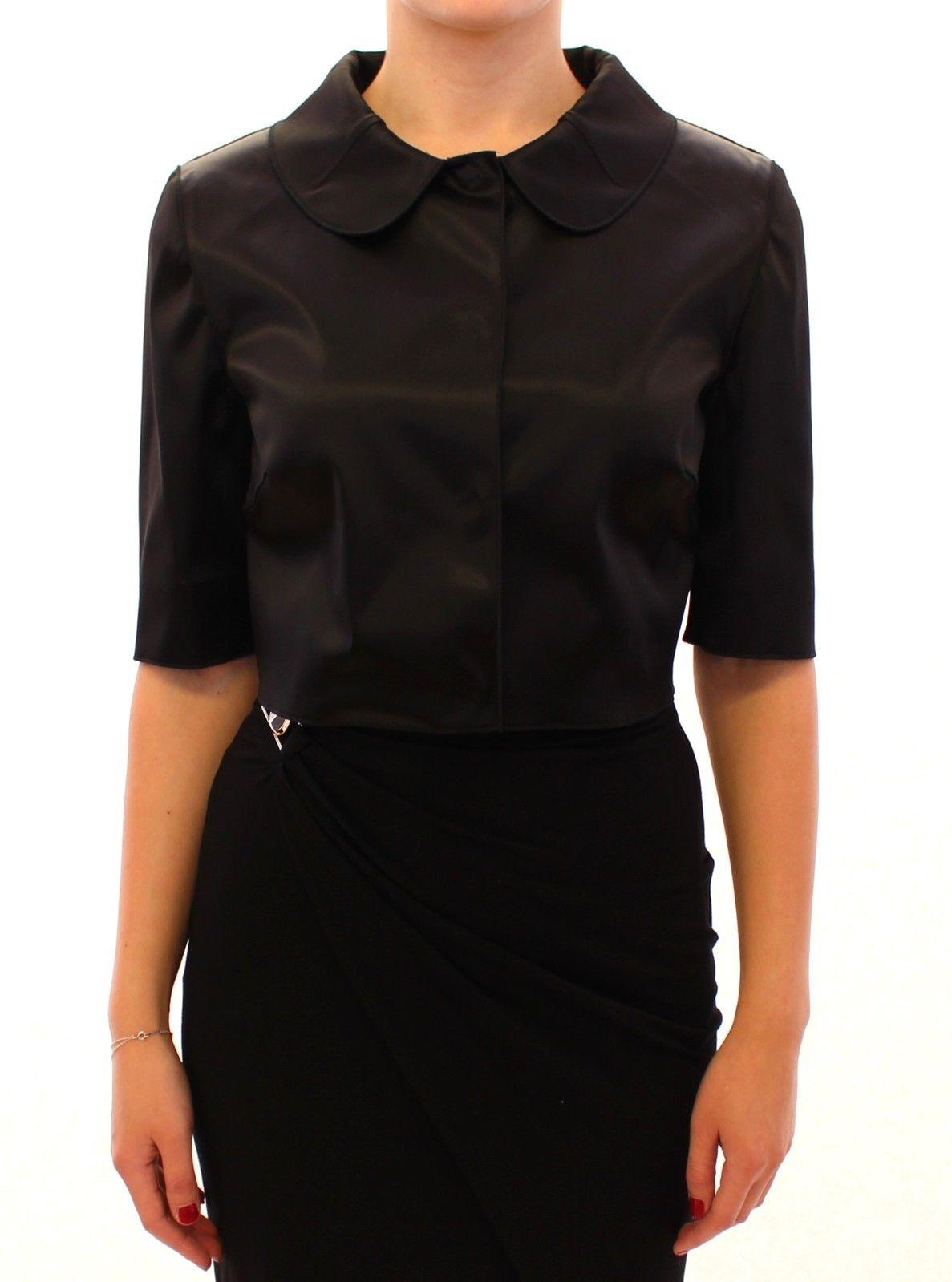 Dolce & Gabbana Women's Shiny Stretch Bolero Shrug Jacket Black GSS11368 - IT46 XL