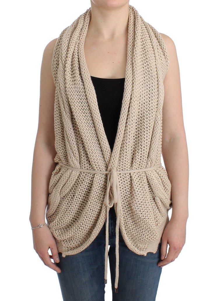 Costume National Women's Sleeveless Knitted Cardigan Beige SIG12085 - S
