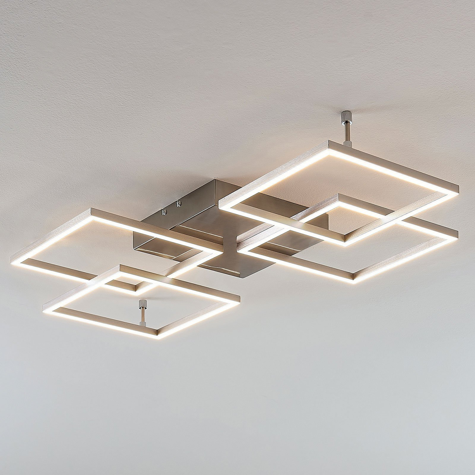 Dimbar LED-taklampe Quadra, 4 lyskilder