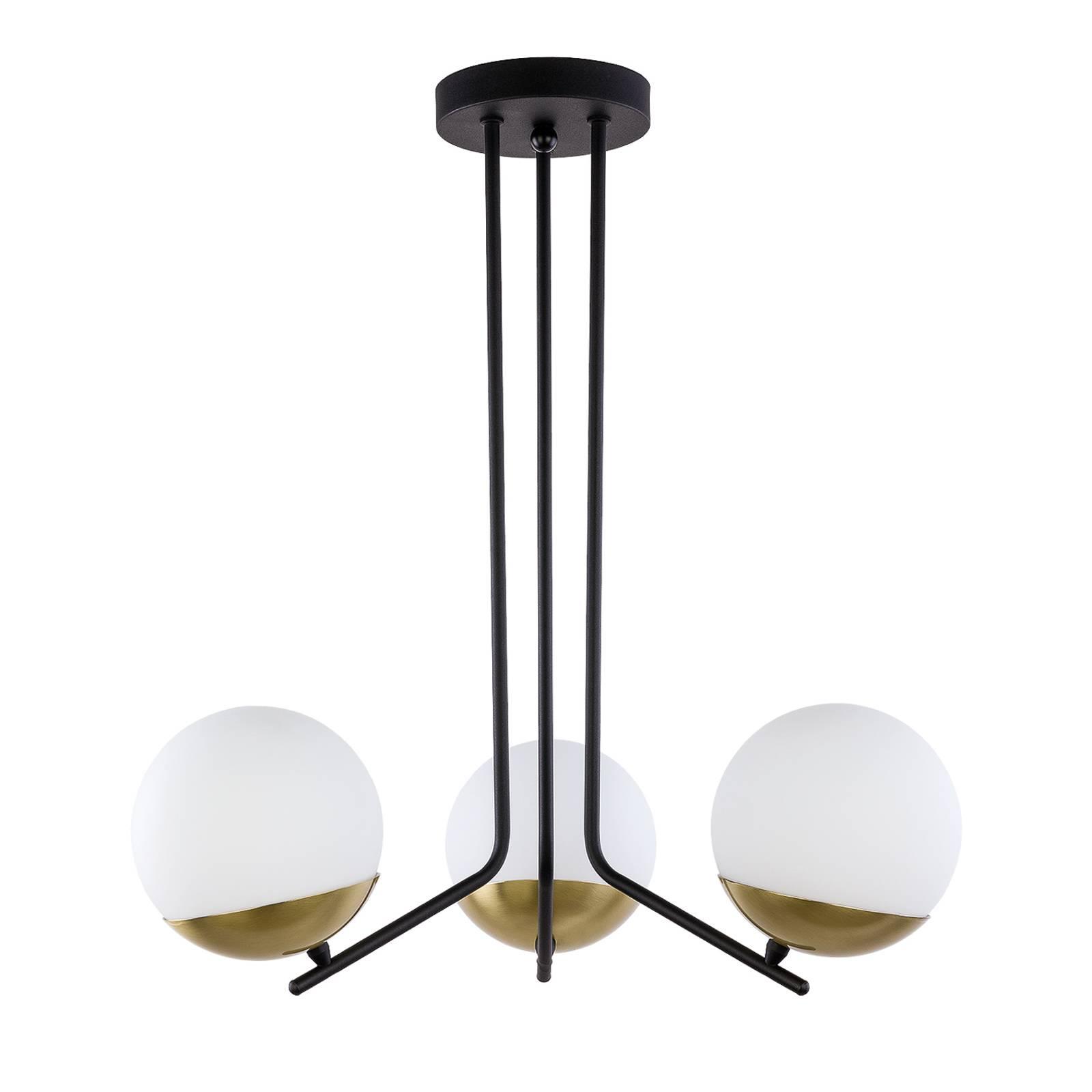 Riippuvalo Torbole, opaali/messinki, 3-lamppuinen