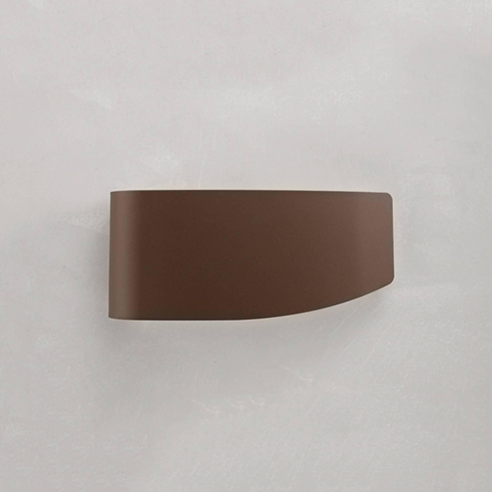 Vegglampe Virgola med dekorativt design, brun