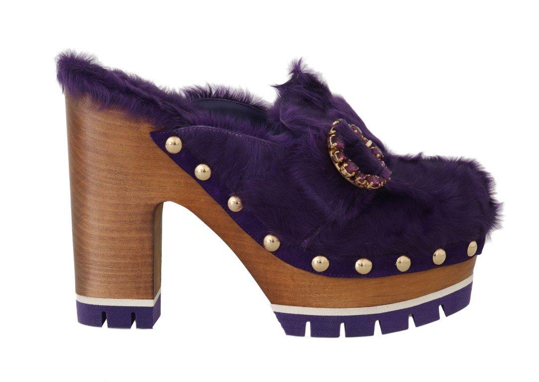 Purple Xiangao Fur Crystal Mules - EU39/US8.5
