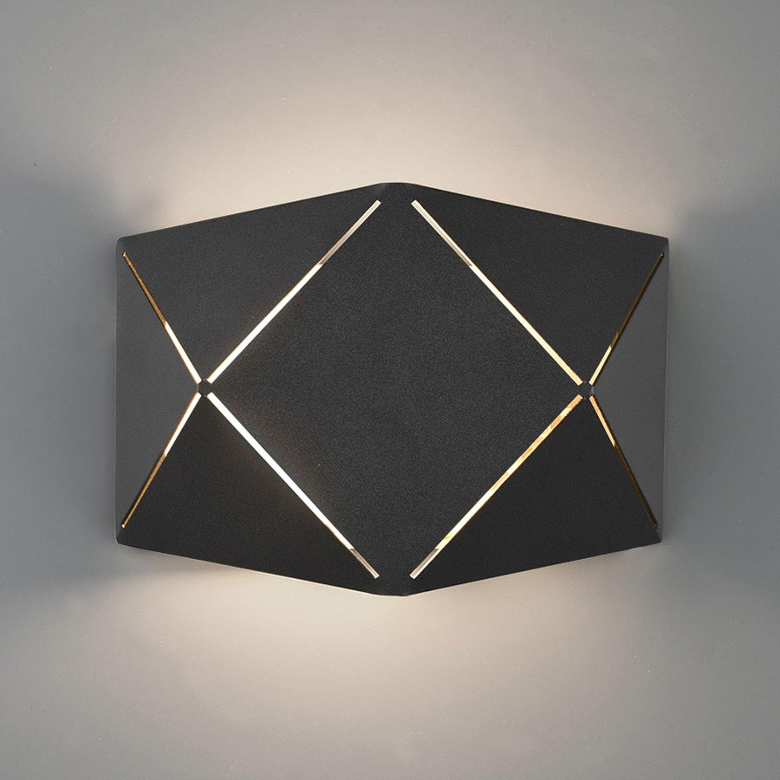 LED-vegglampe Zandor i svart, bredde 18 cm