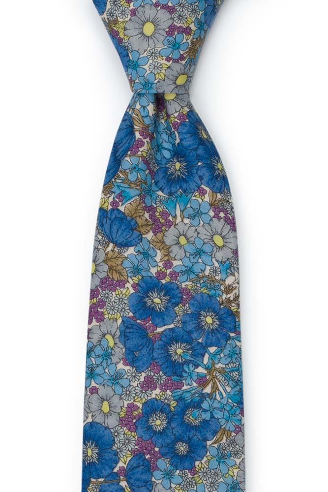 Bomull Slips, Blomster i blått, lilla, oliven & gult på hvitt, Blå, Blomster