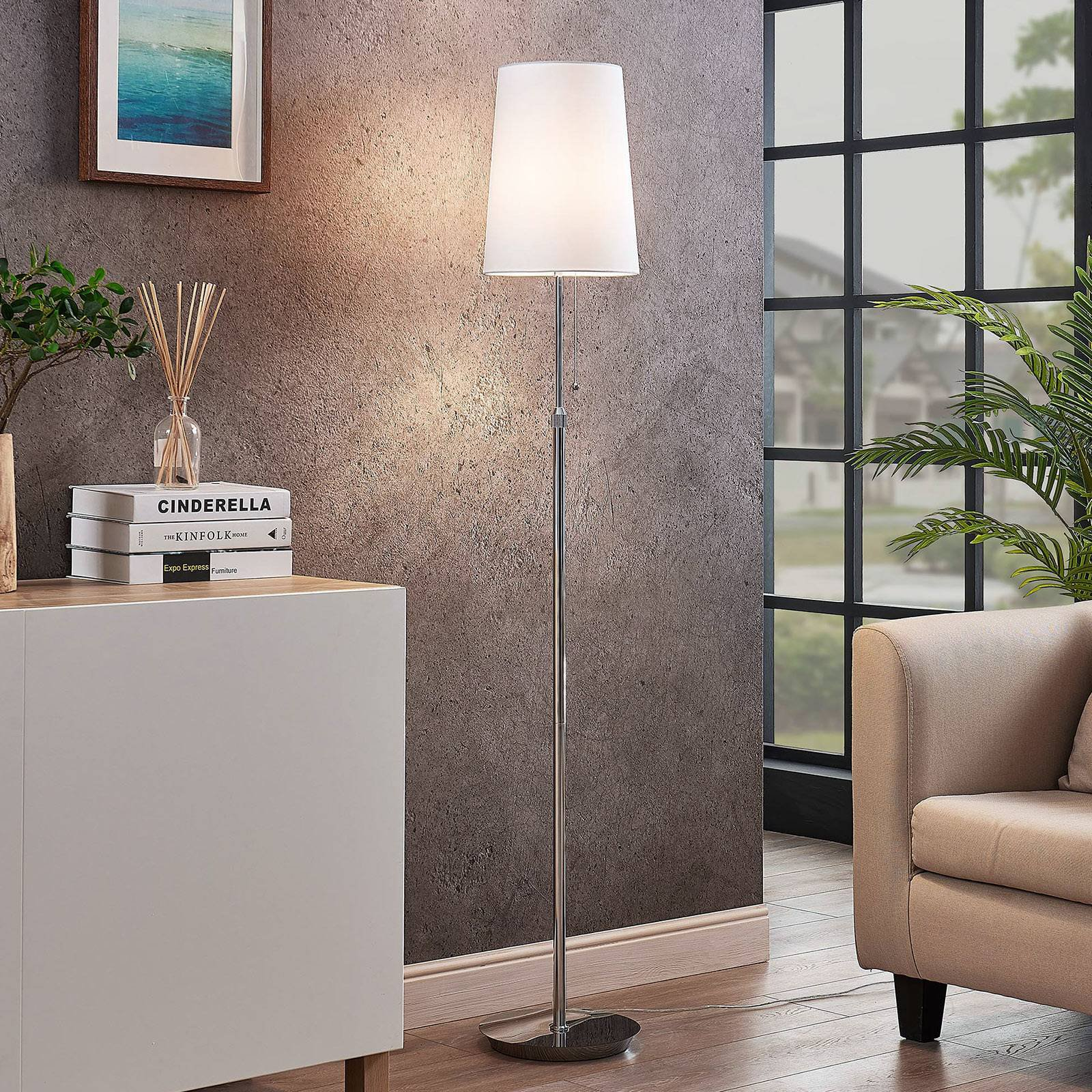 Lucande Pordis gulvlampe, 164 cm, krom-hvit