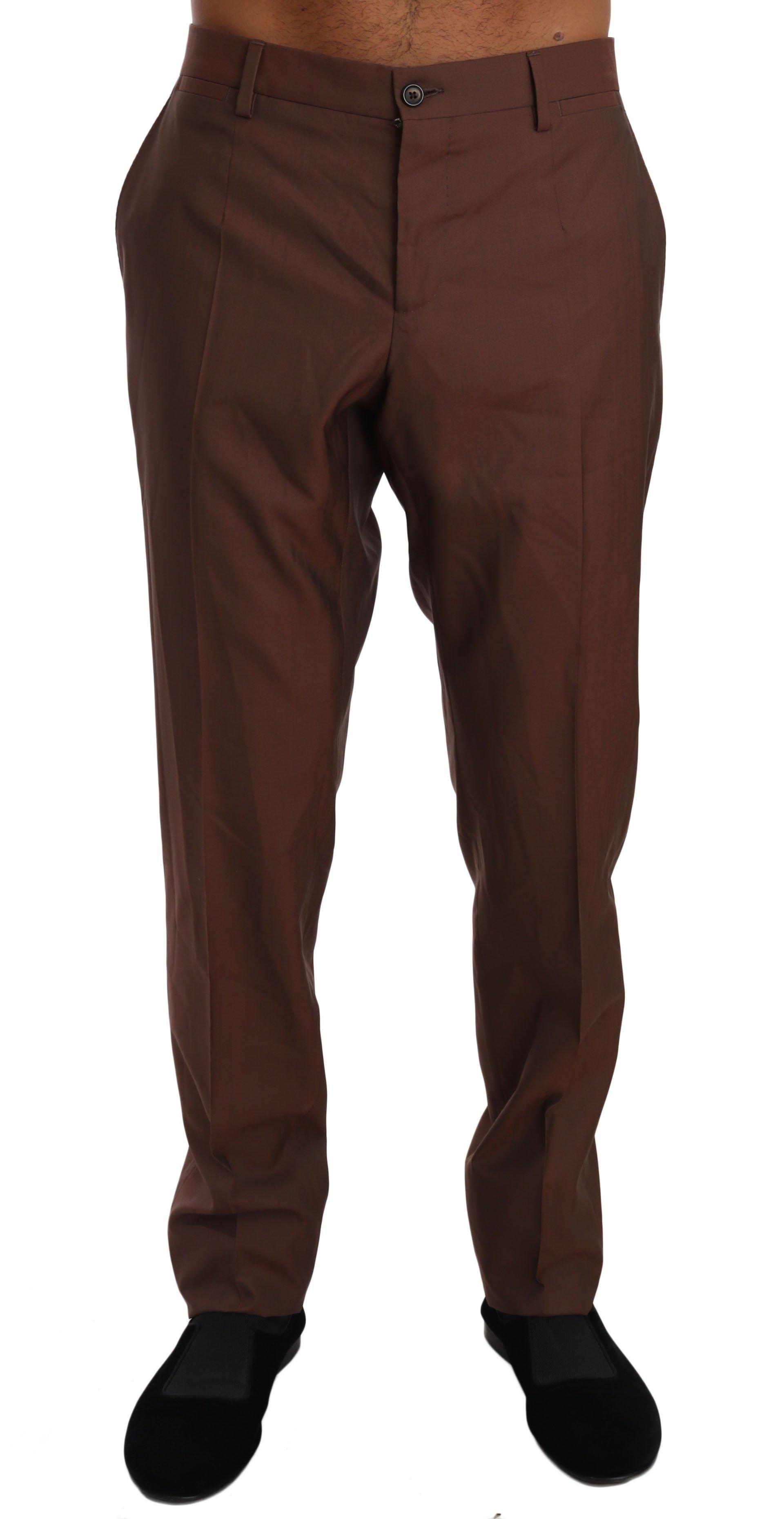 Dolce & Gabbana Men's Wool Silk Formal Trouser Brown PAN61143 - IT54   XXL