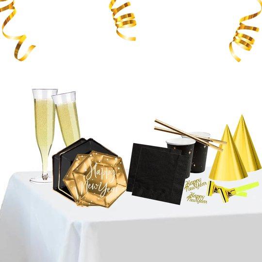 Nyår Dukningspaket Guld/Svart - 6 personer Dukningspaket