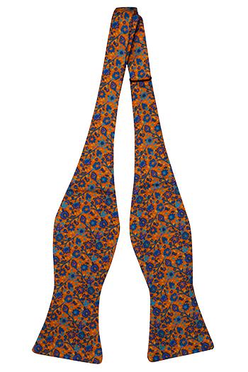 Silke Sløyfer Uknyttede, Små lilla & blå blomster på orange base