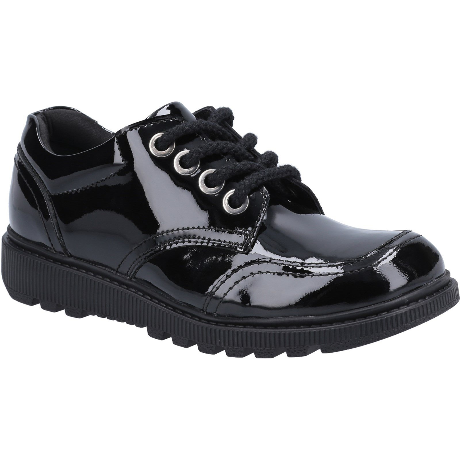 Hush Puppies Kid's Kiera Senior Patent School Shoe Black 30824 - Patent Black 5