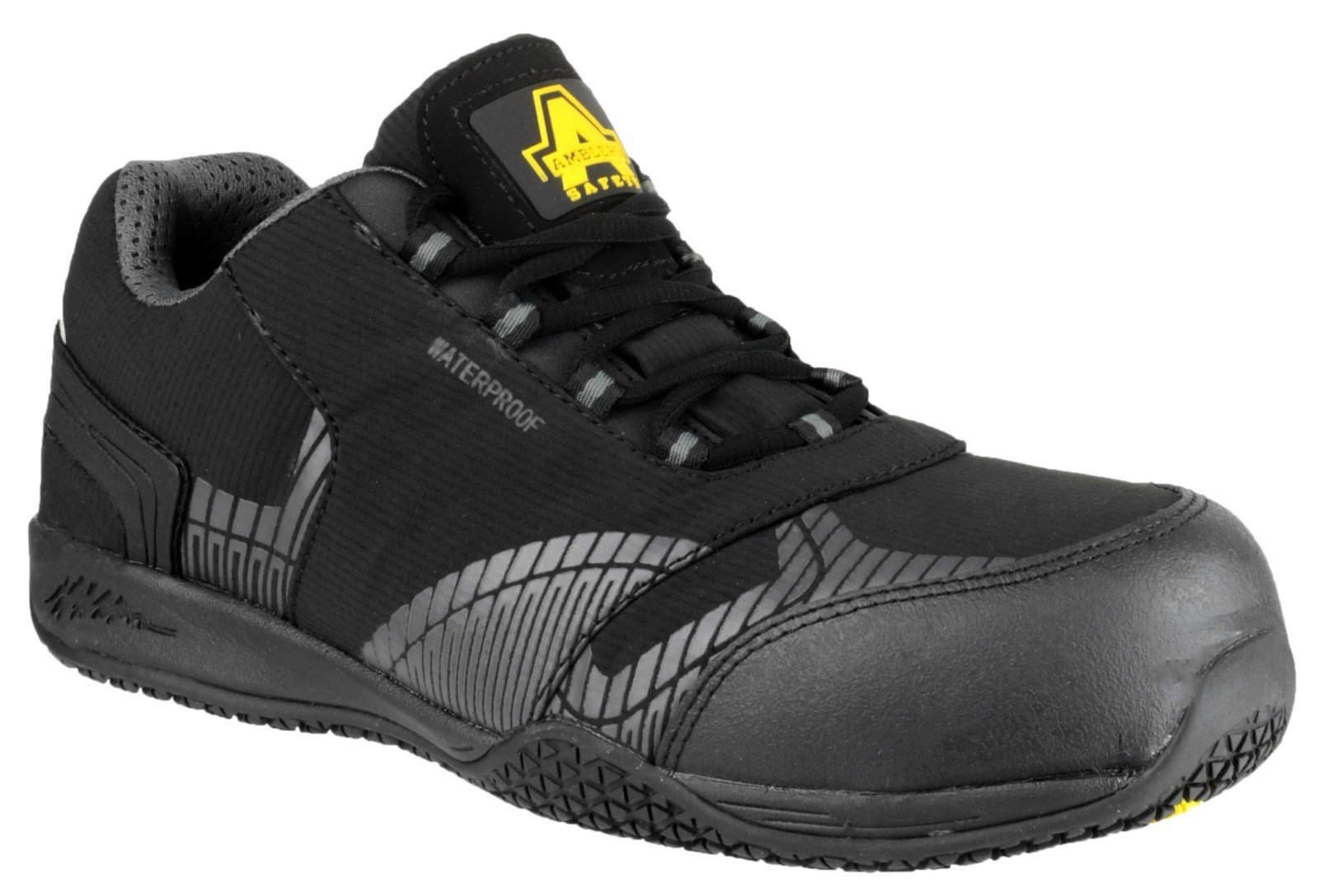 Amblers Unisex Safety Waterproof Metal Non Leather Trainer Black - Black 6