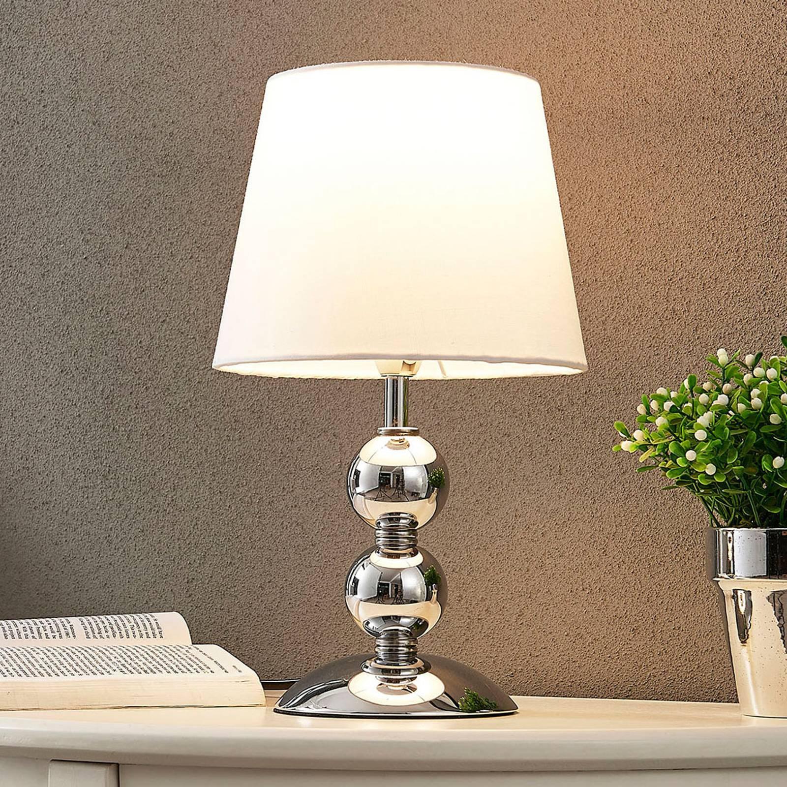 Elegant LED-bordlampe Minna i satengutførelse