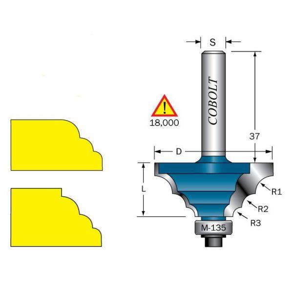 Cobolt 233-929 Flerradiefres R=3, 4,5 og 6mm