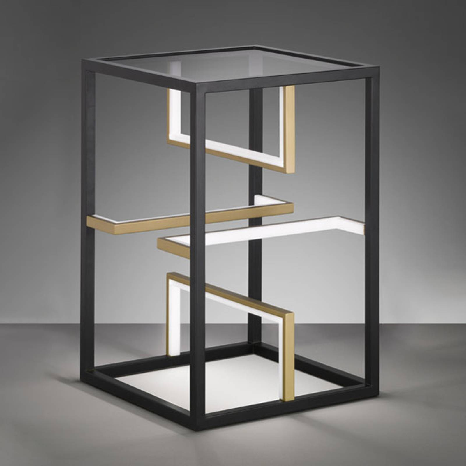 Square-LED-pöytävalaisin 40x40cm, korkeus 60 cm