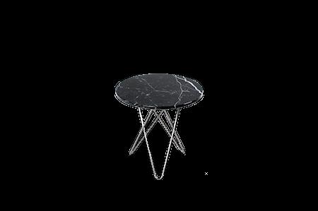 Tall Mini O Table Svart Marmor Rustfri Stålramme Ø50