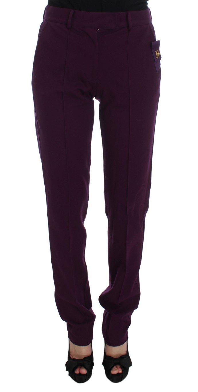 Cavalli Women's Viscose Blend Slim Fit Dress Trouser Purple MOM10002 - IT46 XL