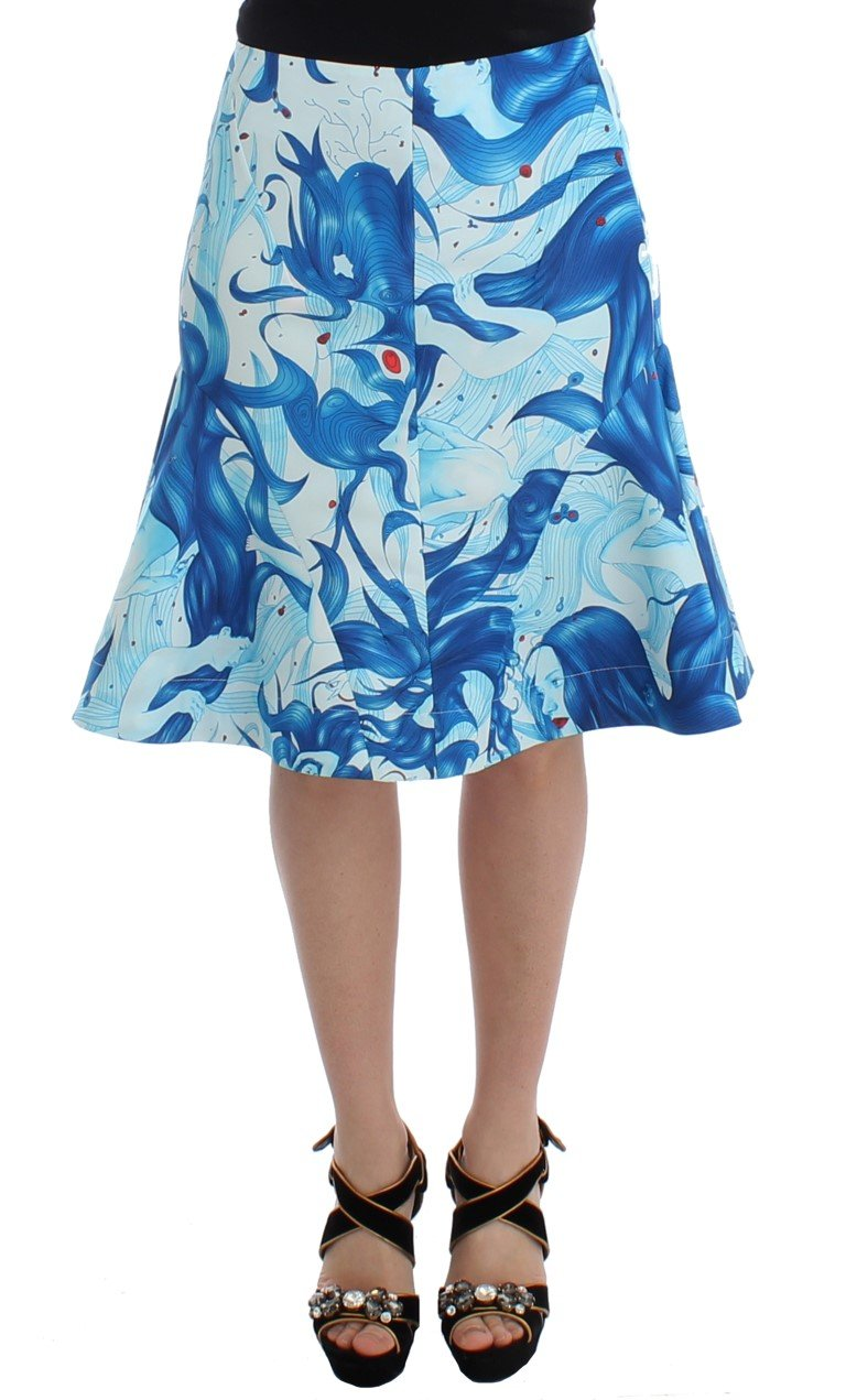 Koonhor Women's Peplum Fresco-Print Straight Skirt Blue SIG12703 - IT44|L