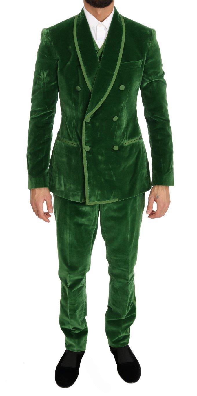 Dolce & Gabbana Men's Velvet Slim Fit Double Breasted Suit Green KOS1053 - IT48 | M