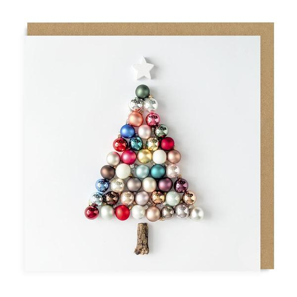 Christmas Baubles Tree Square Christmas Card